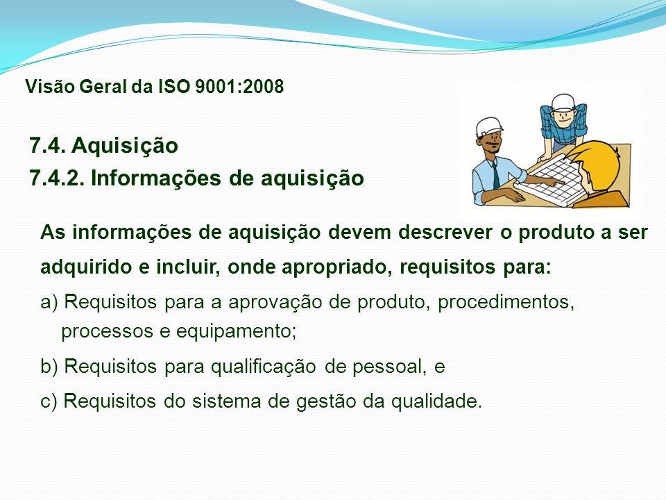 7.4. Aquisição 7.4.2. Informações de aquisição As informações de aquisição devem descrever o produto a ser adquirido e incluir, onde apropriado, requi