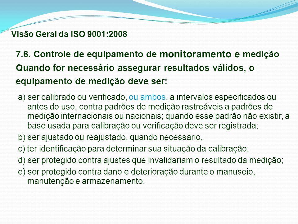 7.6. Controle de equipamento de monitoramento e medição Quando for necessário assegurar resultados válidos, o equipamento de medição deve ser: a) ser