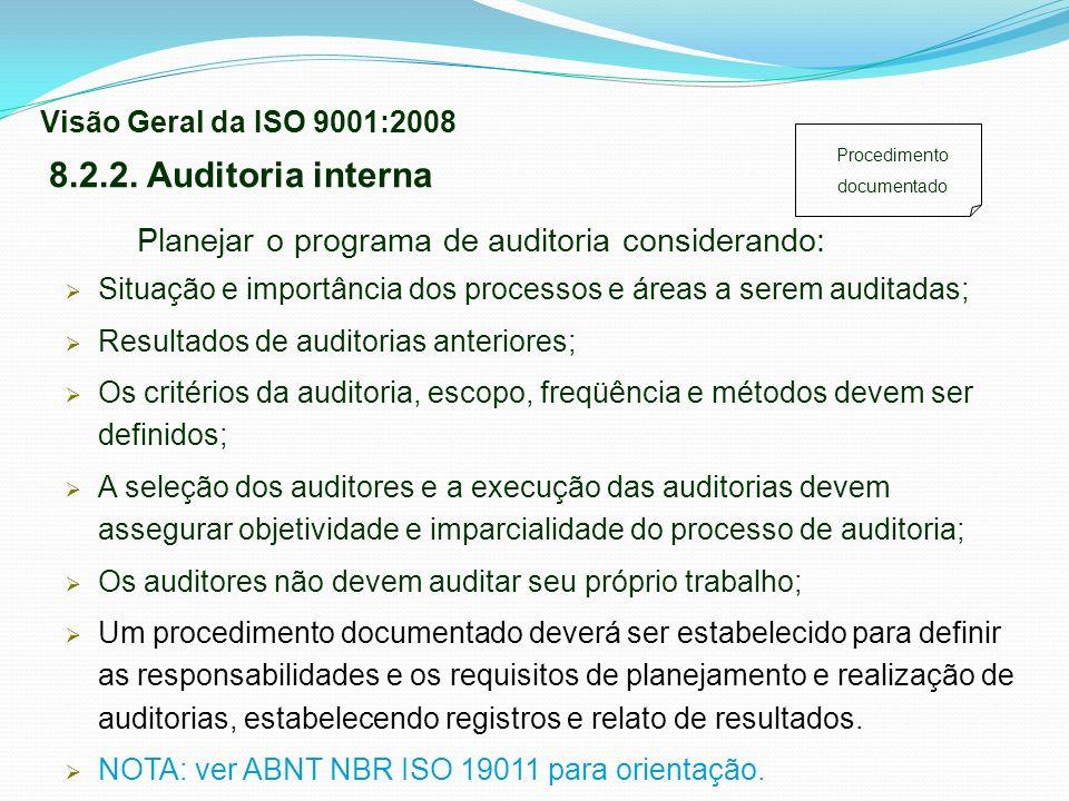 Planejar o programa de auditoria considerando: Situação e importância dos processos e áreas a serem auditadas; Resultados de auditorias anteriores; Os