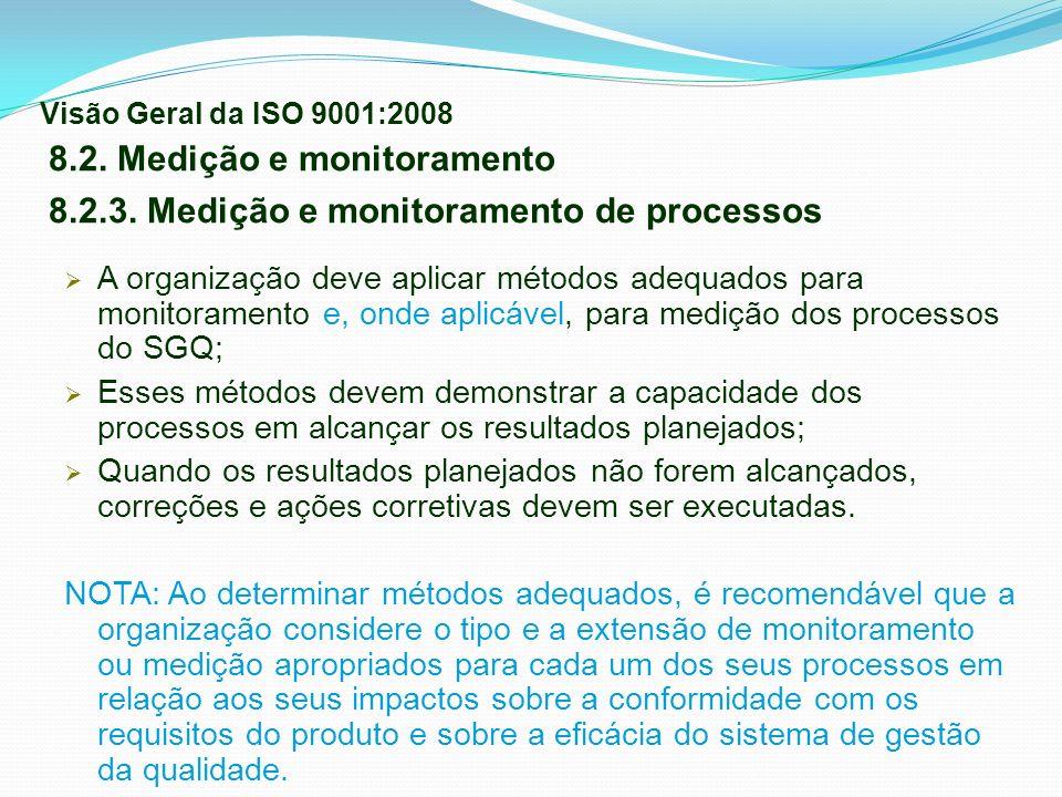 A organização deve aplicar métodos adequados para monitoramento e, onde aplicável, para medição dos processos do SGQ; Esses métodos devem demonstrar a