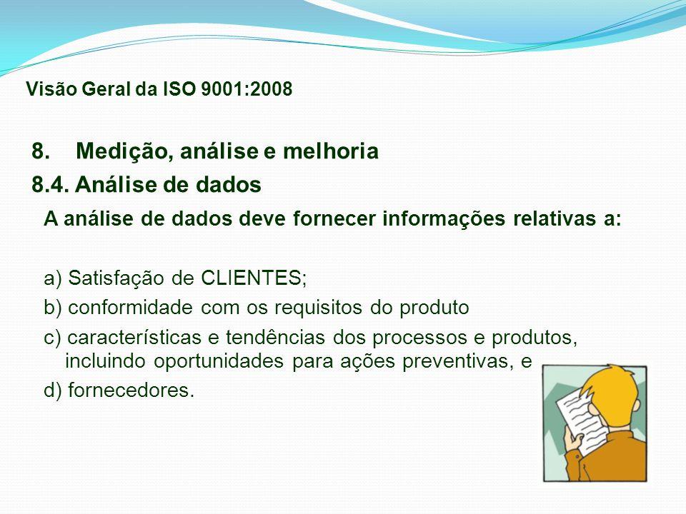 A análise de dados deve fornecer informações relativas a: a) Satisfação de CLIENTES; b) conformidade com os requisitos do produto c) características e