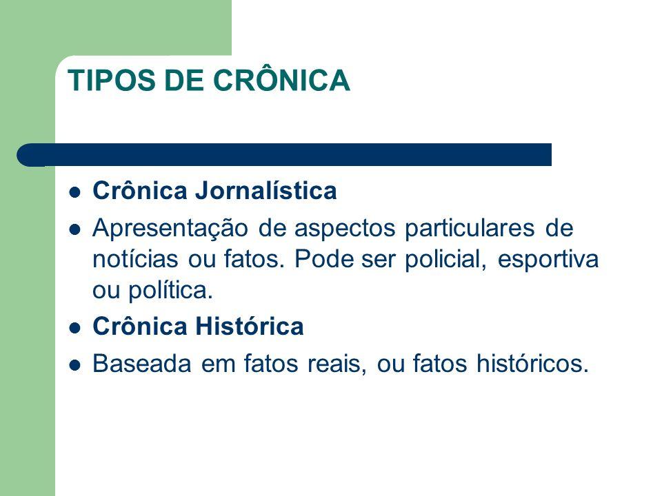 TIPOS DE CRÔNICA Crônica Jornalística Apresentação de aspectos particulares de notícias ou fatos.