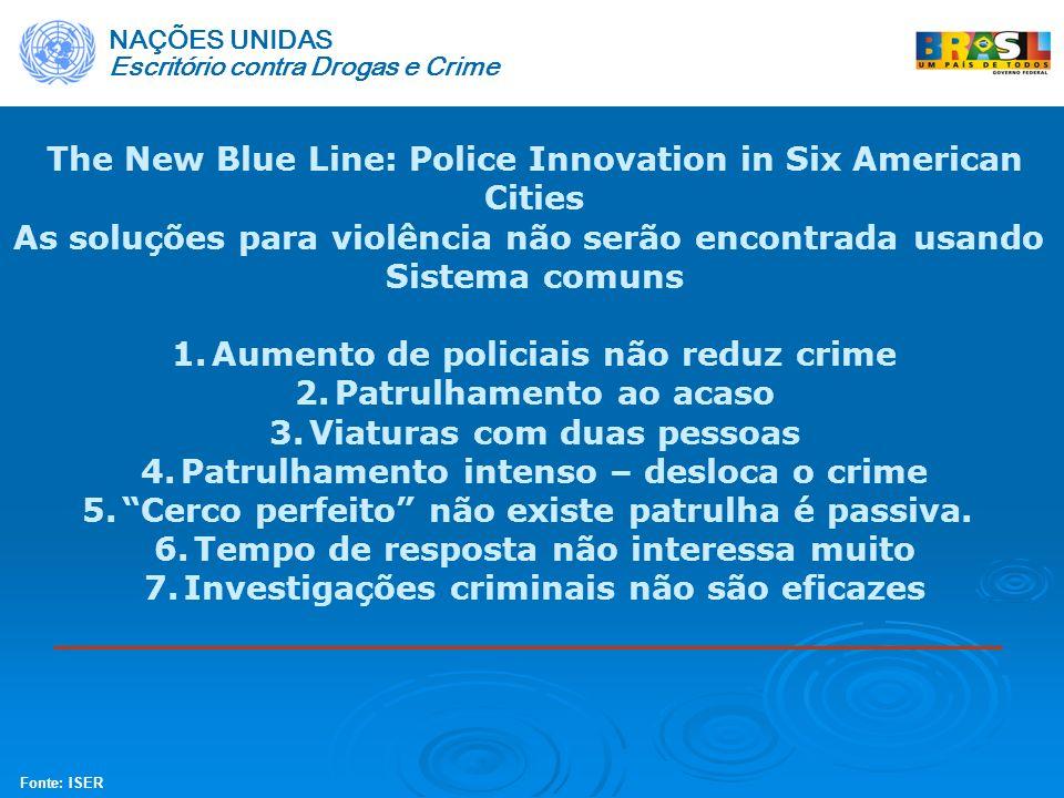 The New Blue Line: Police Innovation in Six American Cities As soluções para violência não serão encontrada usando Sistema comuns 1.Aumento de policia