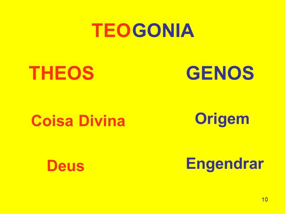 10 TEOGONIA THEOS GENOS Coisa Divina Deus Origem Engendrar