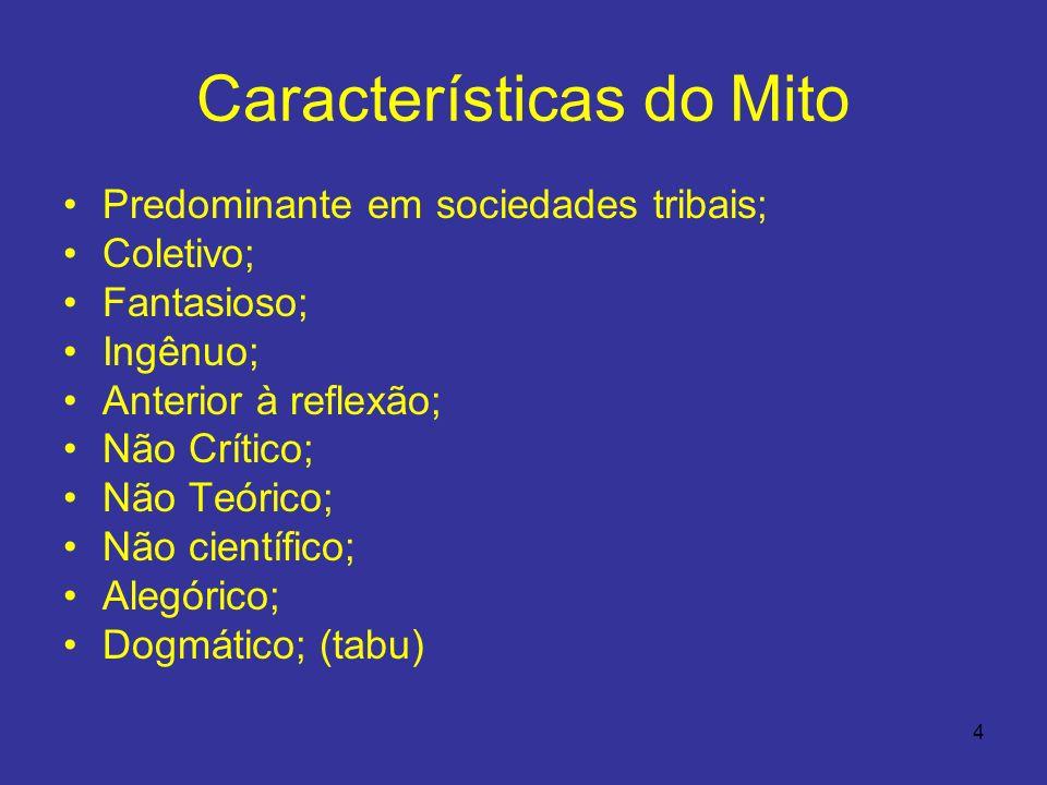 4 Características do Mito Predominante em sociedades tribais; Coletivo; Fantasioso; Ingênuo; Anterior à reflexão; Não Crítico; Não Teórico; Não cientí