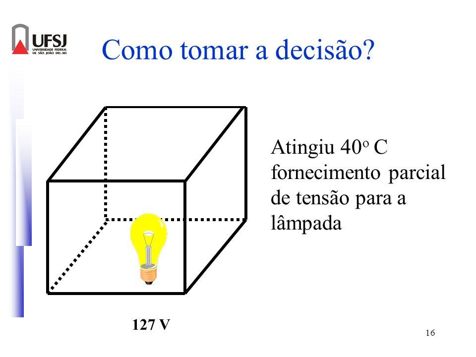 16 Como tomar a decisão? 127 V Atingiu 40 o C fornecimento parcial de tensão para a lâmpada