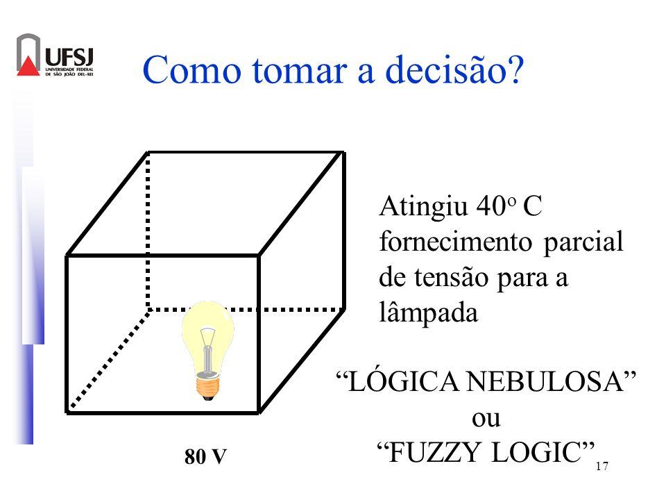 17 Como tomar a decisão? 80 V LÓGICA NEBULOSA ou FUZZY LOGIC Atingiu 40 o C fornecimento parcial de tensão para a lâmpada
