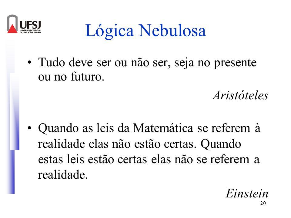 20 Lógica Nebulosa Tudo deve ser ou não ser, seja no presente ou no futuro. Aristóteles Quando as leis da Matemática se referem à realidade elas não e