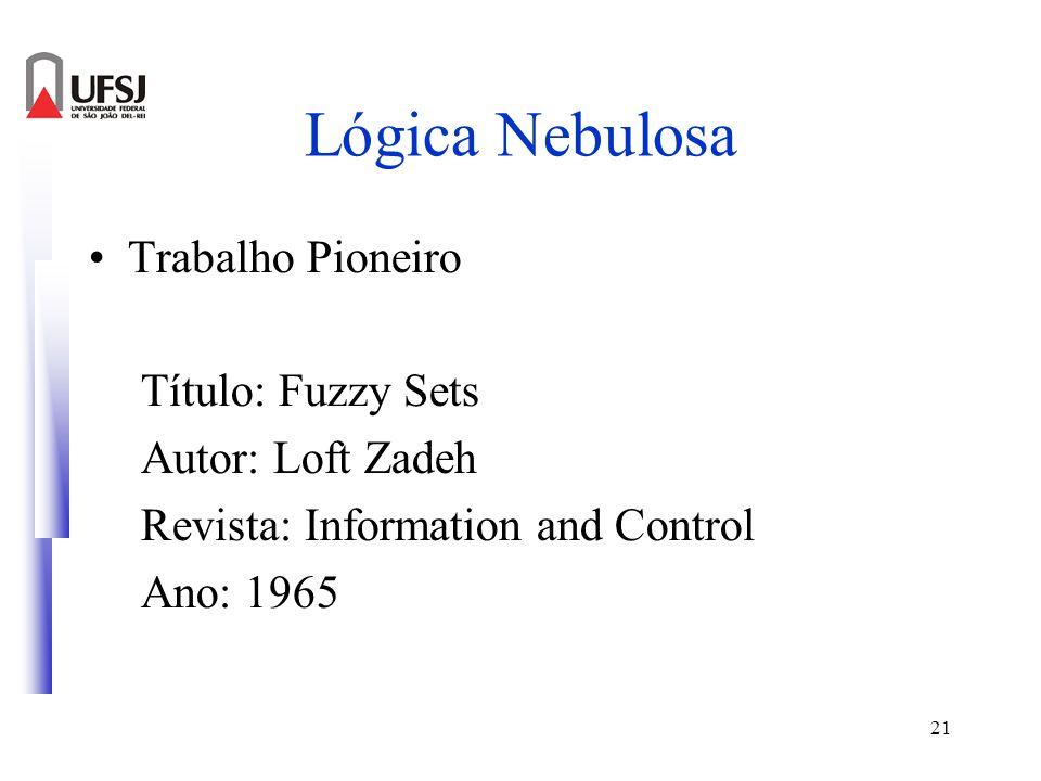 21 Lógica Nebulosa Trabalho Pioneiro Título: Fuzzy Sets Autor: Loft Zadeh Revista: Information and Control Ano: 1965