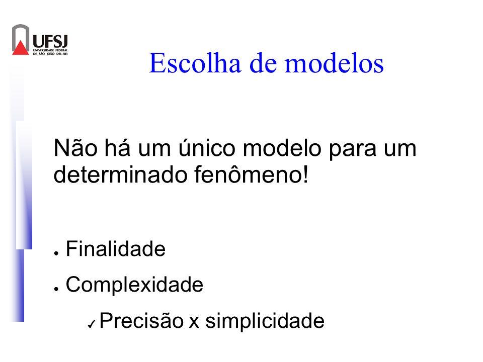 Escolha de modelos Não há um único modelo para um determinado fenômeno! Finalidade Complexidade Precisão x simplicidade