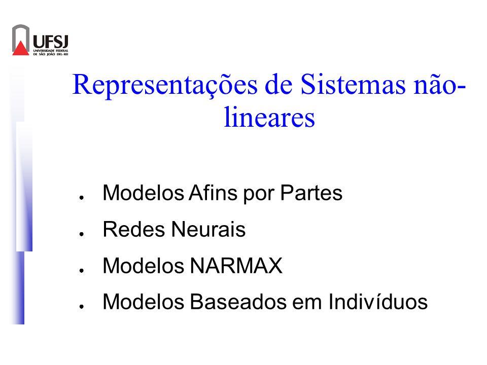 Representações de Sistemas não- lineares Modelos Afins por Partes Redes Neurais Modelos NARMAX Modelos Baseados em Indivíduos
