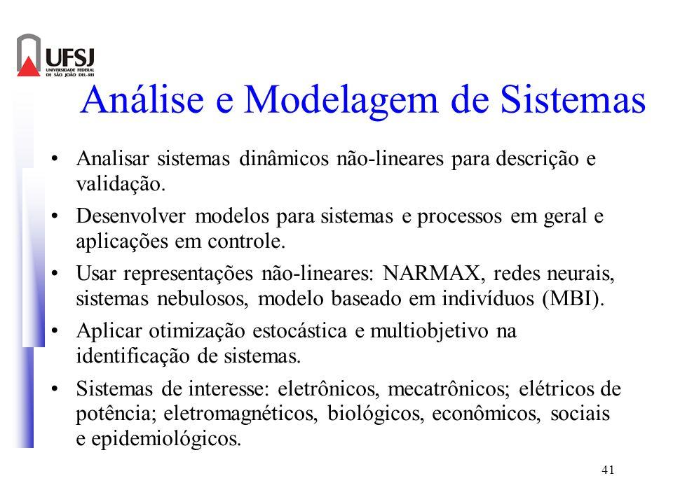 41 Análise e Modelagem de Sistemas Analisar sistemas dinâmicos não-lineares para descrição e validação. Desenvolver modelos para sistemas e processos