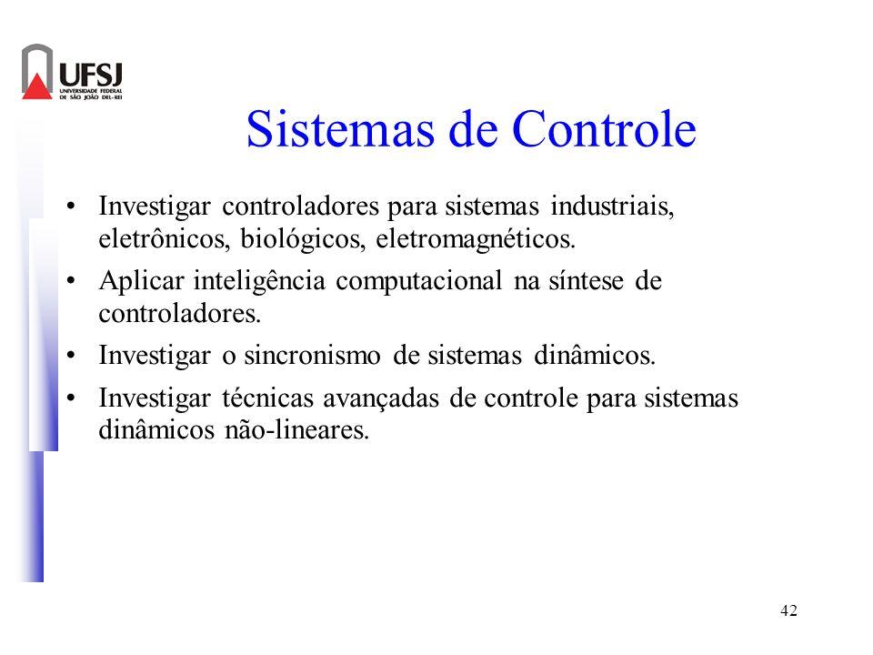 42 Sistemas de Controle Investigar controladores para sistemas industriais, eletrônicos, biológicos, eletromagnéticos. Aplicar inteligência computacio