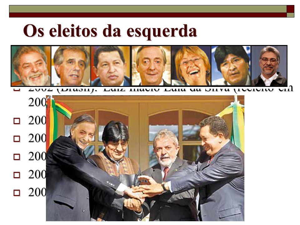 1998 (Venezuela): Hugo Chavez (reeleito em 2006) 1998 (Venezuela): Hugo Chavez (reeleito em 2006) 2002 (Brasil):Luiz Inácio Lula da Silva (reeleito em