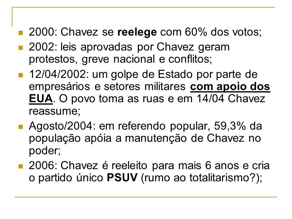 2000: Chavez se reelege com 60% dos votos; 2002: leis aprovadas por Chavez geram protestos, greve nacional e conflitos; 12/04/2002: um golpe de Estado