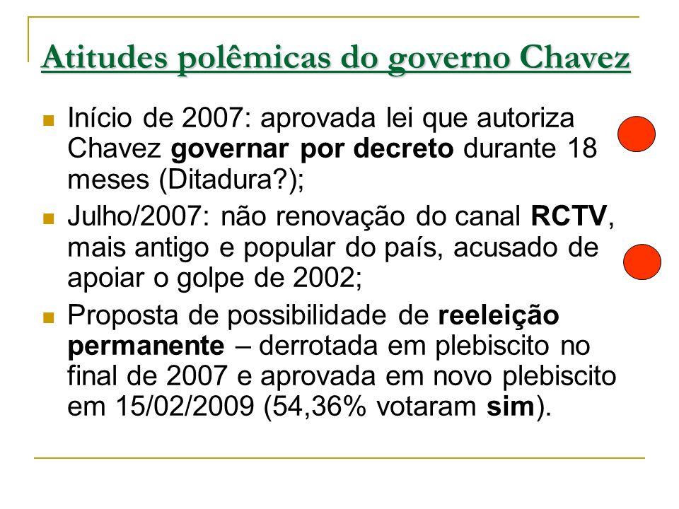 Atitudes polêmicas do governo Chavez Início de 2007: aprovada lei que autoriza Chavez governar por decreto durante 18 meses (Ditadura?); Julho/2007: n