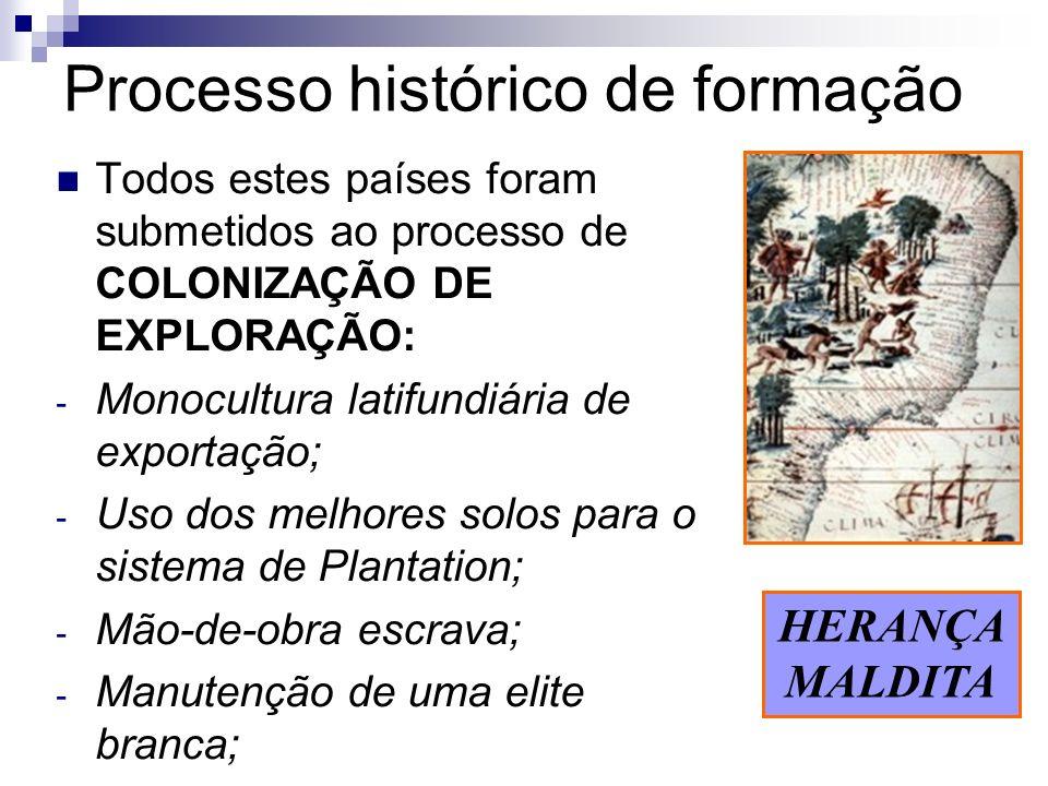 Processo histórico de formação Todos estes países foram submetidos ao processo de COLONIZAÇÃO DE EXPLORAÇÃO: - Monocultura latifundiária de exportação