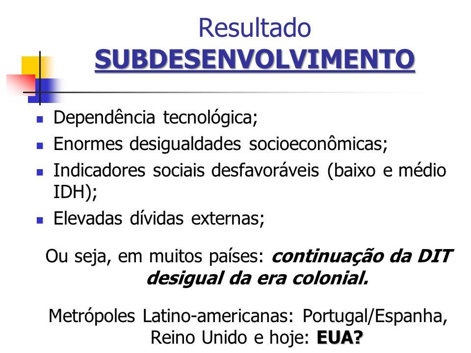 SUBDESENVOLVIMENTO Resultado SUBDESENVOLVIMENTO Dependência tecnológica; Enormes desigualdades socioeconômicas; Indicadores sociais desfavoráveis (bai