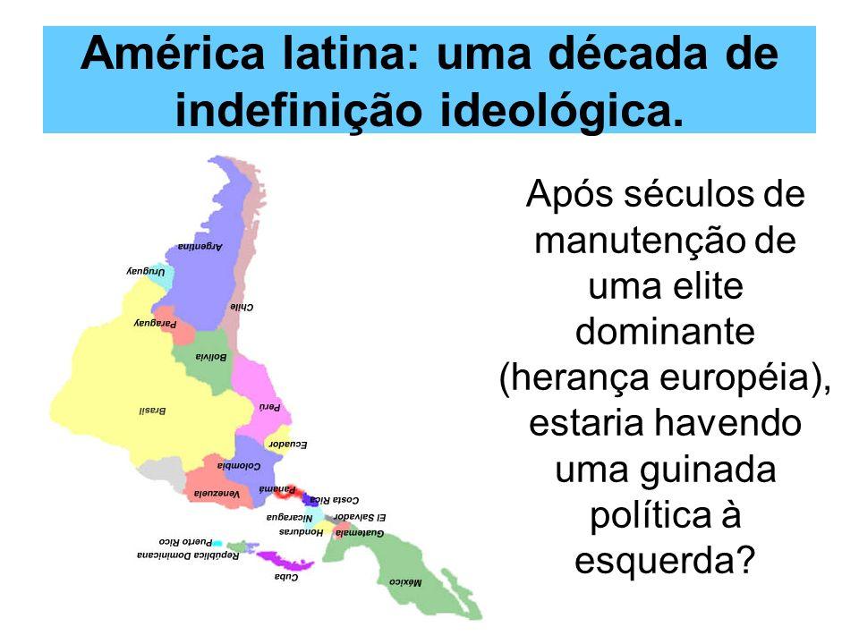 1998 (Venezuela): Hugo Chavez (reeleito em 2006) 1998 (Venezuela): Hugo Chavez (reeleito em 2006) 2002 (Brasil):Luiz Inácio Lula da Silva (reeleito em 2006) 2002 (Brasil):Luiz Inácio Lula da Silva (reeleito em 2006) 2003 (Argentina):Néstor Kirchner 2003 (Argentina):Néstor Kirchner 2004 (Uruguai):Tabaré Vázquez 2004 (Uruguai):Tabaré Vázquez 2005 (Bolívia):Evo Morales 2005 (Bolívia):Evo Morales 2006 (Chile):Michelle Bachelet 2006 (Chile):Michelle Bachelet 2008 (Paraguai)Fernando Lugo 2008 (Paraguai)Fernando Lugo Os eleitos da esquerda