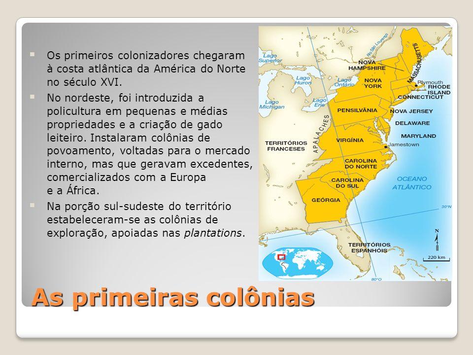 As primeiras colônias Os primeiros colonizadores chegaram à costa atlântica da América do Norte no século XVI. No nordeste, foi introduzida a policult