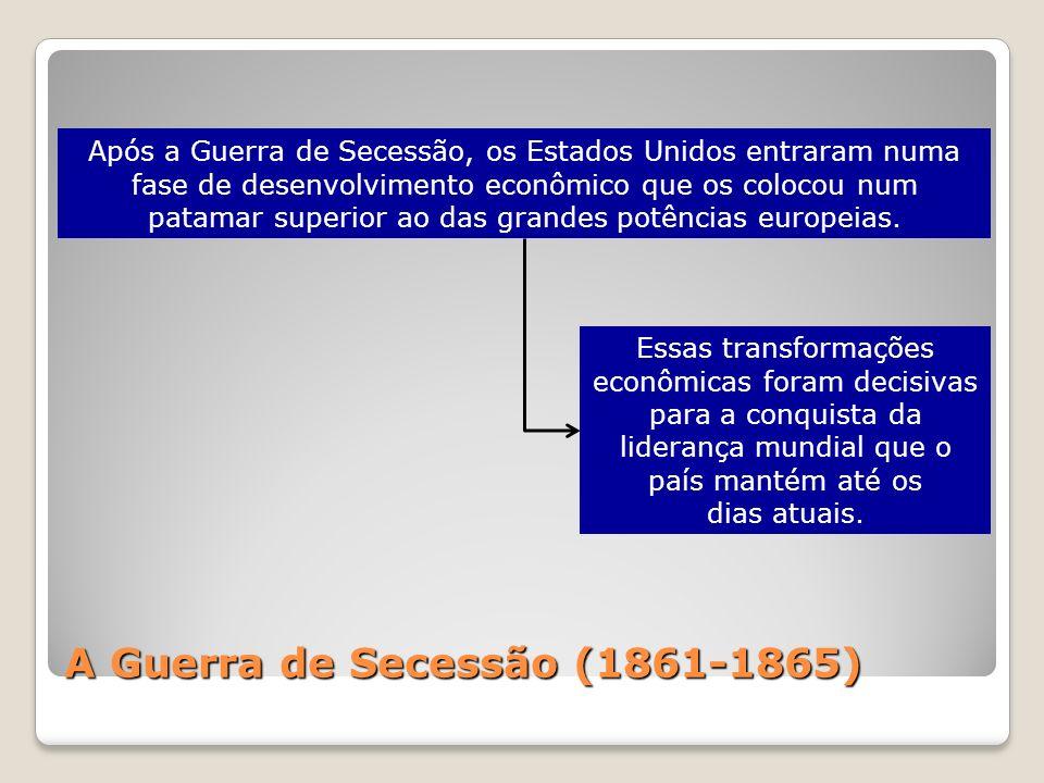 A Guerra de Secessão (1861-1865) Após a Guerra de Secessão, os Estados Unidos entraram numa fase de desenvolvimento econômico que os colocou num patam
