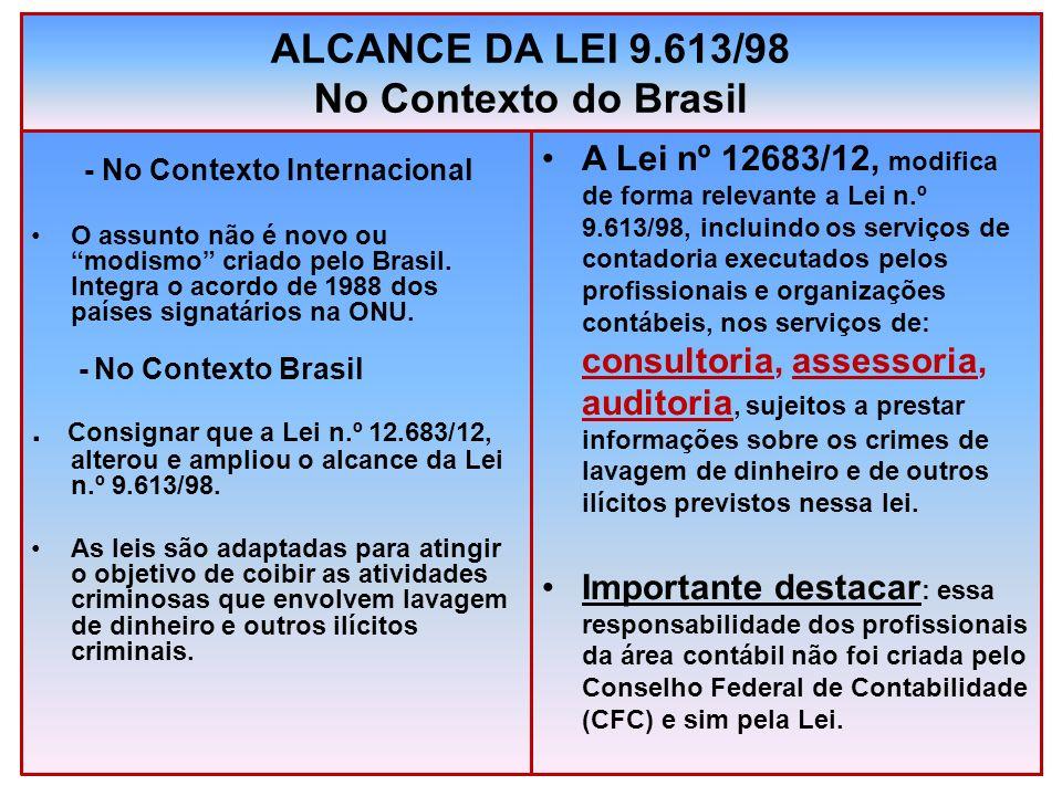 ALCANCE DA LEI 9.613/98 No Contexto do Brasil - No Contexto Internacional O assunto não é novo ou modismo criado pelo Brasil. Integra o acordo de 1988