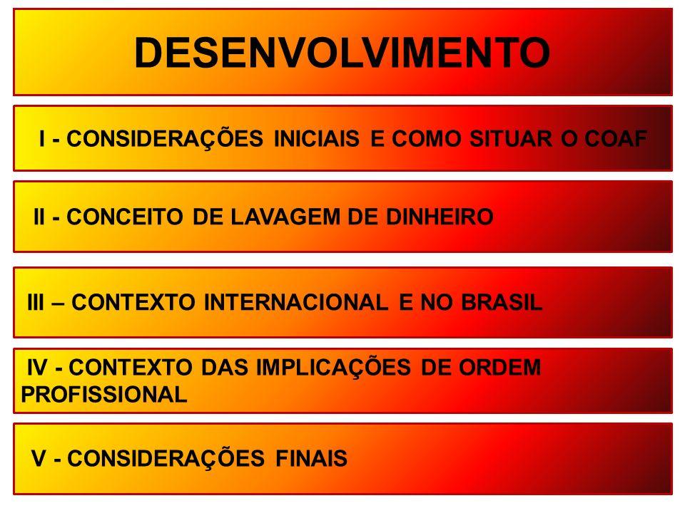 DESENVOLVIMENTO II - CONCEITO DE LAVAGEM DE DINHEIRO III – CONTEXTO INTERNACIONAL E NO BRASIL IV - CONTEXTO DAS IMPLICAÇÕES DE ORDEM PROFISSIONAL V -