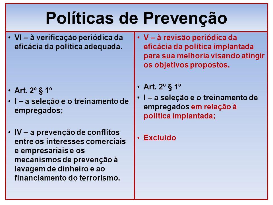 Políticas de Prevenção VI – à verificação periódica da eficácia da política adequada. Art. 2º § 1º I – a seleção e o treinamento de empregados; IV – a