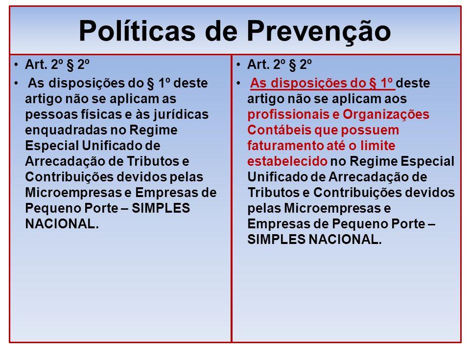 Políticas de Prevenção Art. 2º § 2º As disposições do § 1º deste artigo não se aplicam as pessoas físicas e às jurídicas enquadradas no Regime Especia