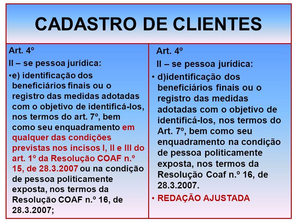 CADASTRO DE CLIENTES Art. 4º II – se pessoa jurídica: e) identificação dos beneficiários finais ou o registro das medidas adotadas com o objetivo de i