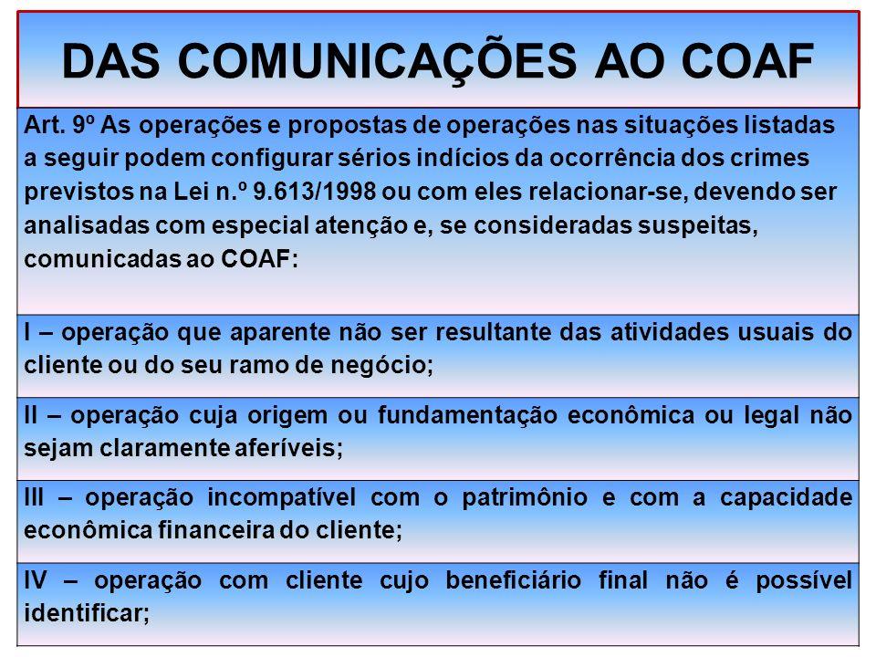 DAS COMUNICAÇÕES AO COAF Art. 9º As operações e propostas de operações nas situações listadas a seguir podem configurar sérios indícios da ocorrência