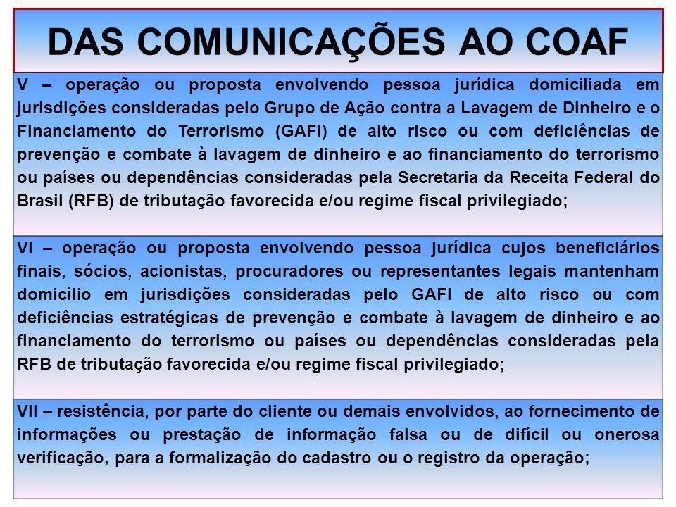 DAS COMUNICAÇÕES AO COAF V – operação ou proposta envolvendo pessoa jurídica domiciliada em jurisdições consideradas pelo Grupo de Ação contra a Lavag