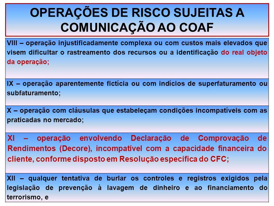OPERAÇÕES DE RISCO SUJEITAS A COMUNICAÇÃO AO COAF VIII – operação injustificadamente complexa ou com custos mais elevados que visem dificultar o rastr