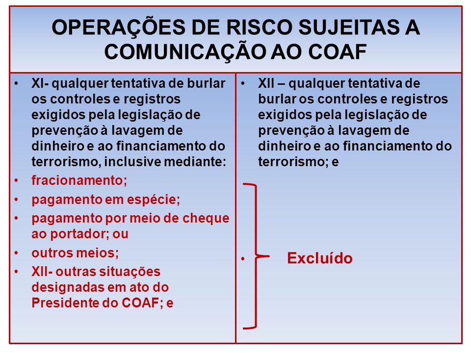 OPERAÇÕES DE RISCO SUJEITAS A COMUNICAÇÃO AO COAF XI- qualquer tentativa de burlar os controles e registros exigidos pela legislação de prevenção à la