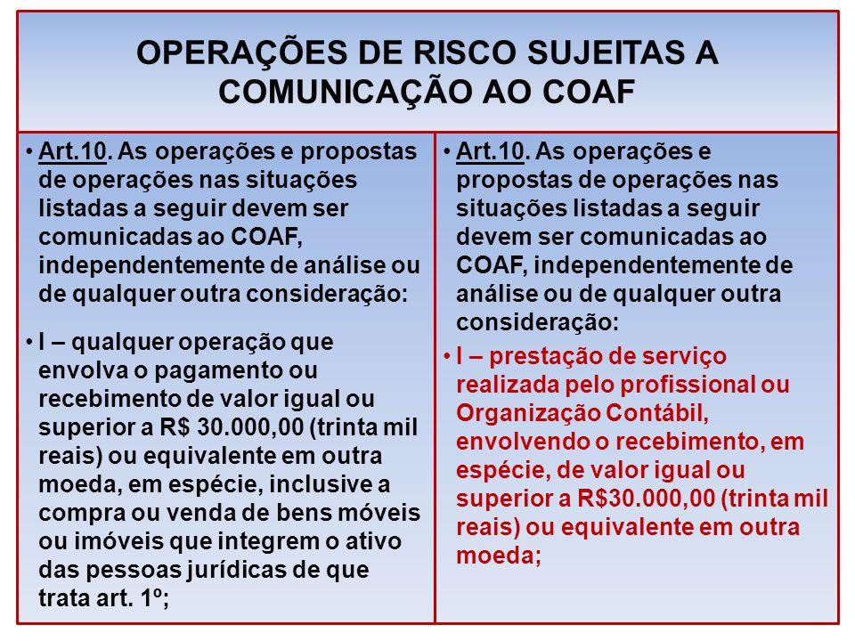 OPERAÇÕES DE RISCO SUJEITAS A COMUNICAÇÃO AO COAF Art.10. As operações e propostas de operações nas situações listadas a seguir devem ser comunicadas
