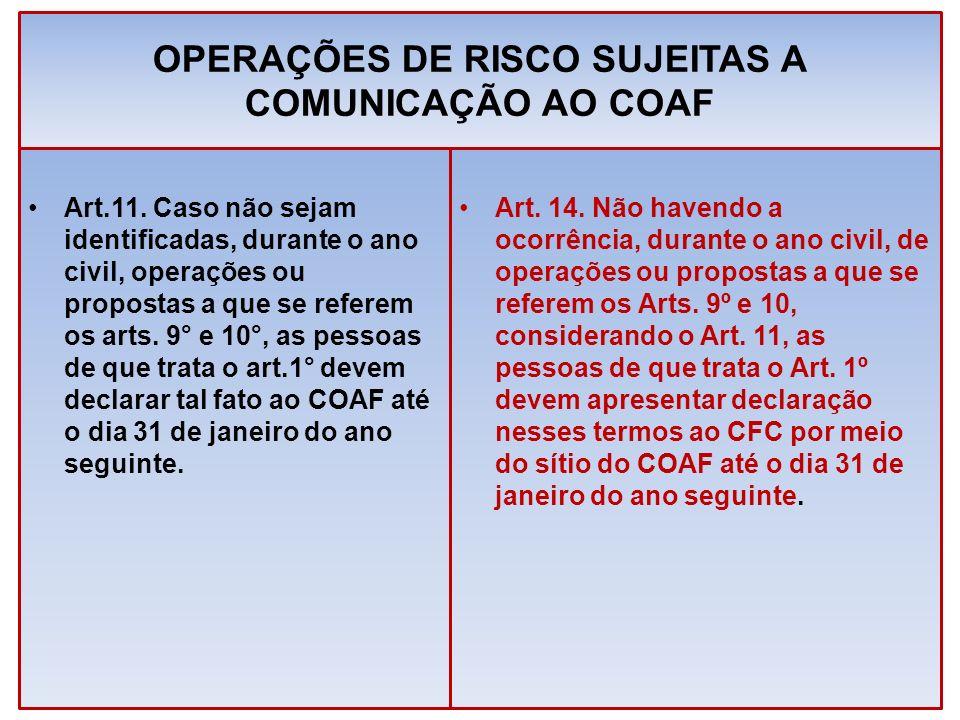 OPERAÇÕES DE RISCO SUJEITAS A COMUNICAÇÃO AO COAF Art.11. Caso não sejam identificadas, durante o ano civil, operações ou propostas a que se referem o