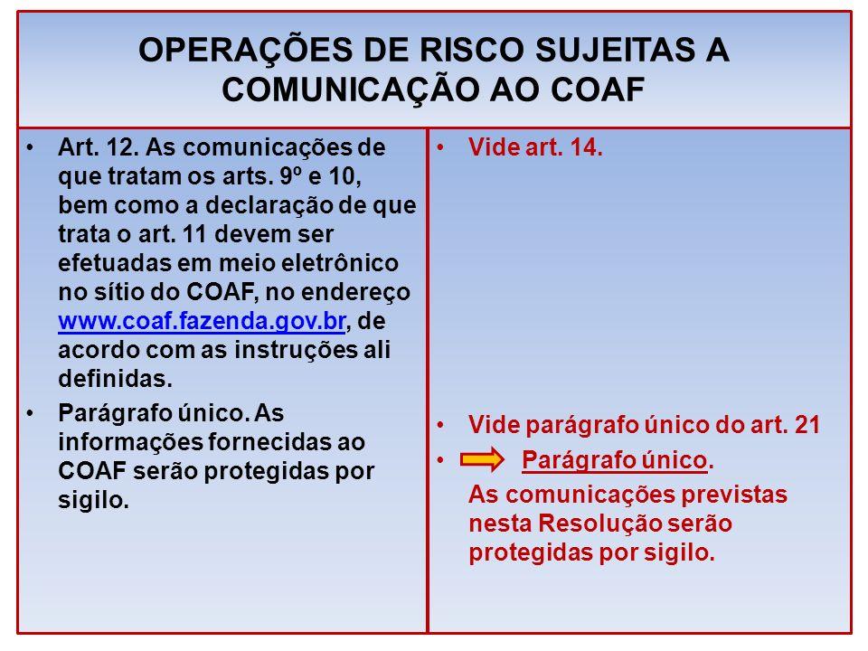 OPERAÇÕES DE RISCO SUJEITAS A COMUNICAÇÃO AO COAF Art. 12. As comunicações de que tratam os arts. 9º e 10, bem como a declaração de que trata o art. 1
