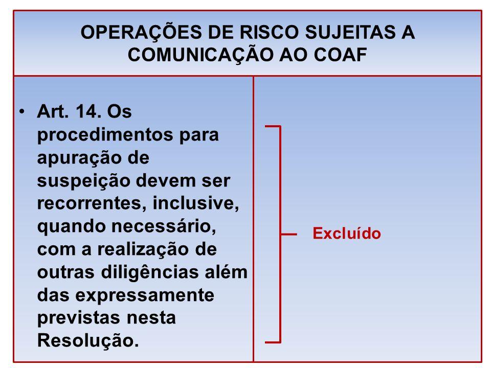 OPERAÇÕES DE RISCO SUJEITAS A COMUNICAÇÃO AO COAF Art. 14. Os procedimentos para apuração de suspeição devem ser recorrentes, inclusive, quando necess