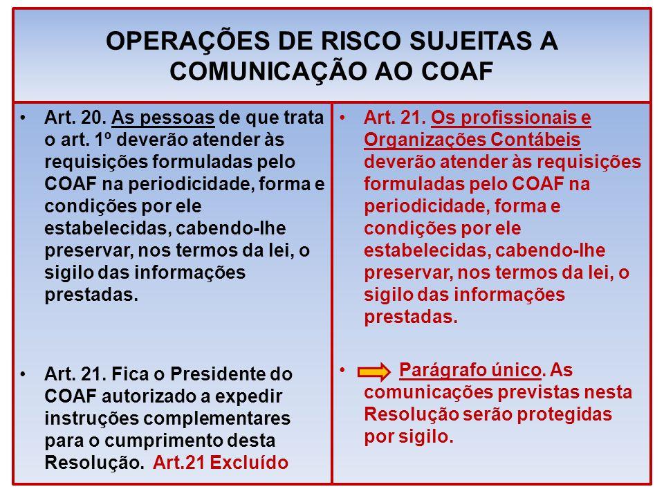 OPERAÇÕES DE RISCO SUJEITAS A COMUNICAÇÃO AO COAF Art. 20. As pessoas de que trata o art. 1º deverão atender às requisições formuladas pelo COAF na pe