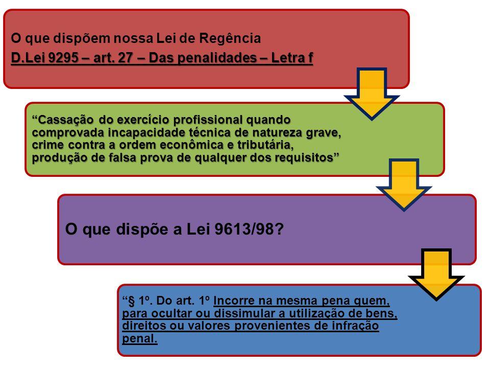 O que dispõem nossa Lei de Regência D.Lei 9295 – art. 27 – Das penalidades – Letra f Cassação do exercício profissional quando comprovada incapacidade