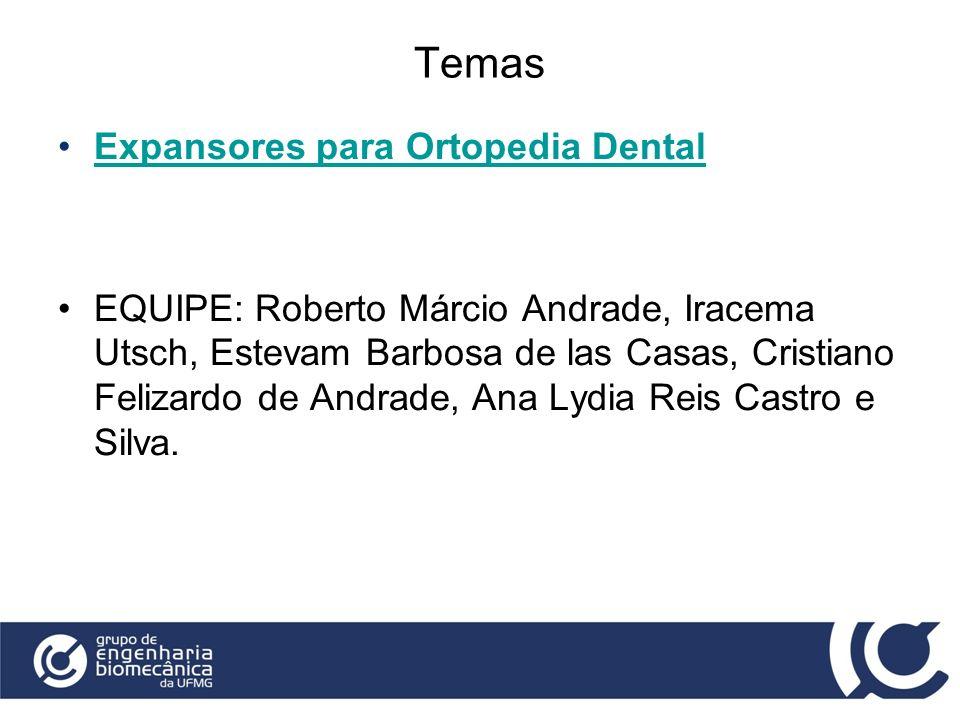 Temas Expansores para Ortopedia Dental EQUIPE: Roberto Márcio Andrade, Iracema Utsch, Estevam Barbosa de las Casas, Cristiano Felizardo de Andrade, An