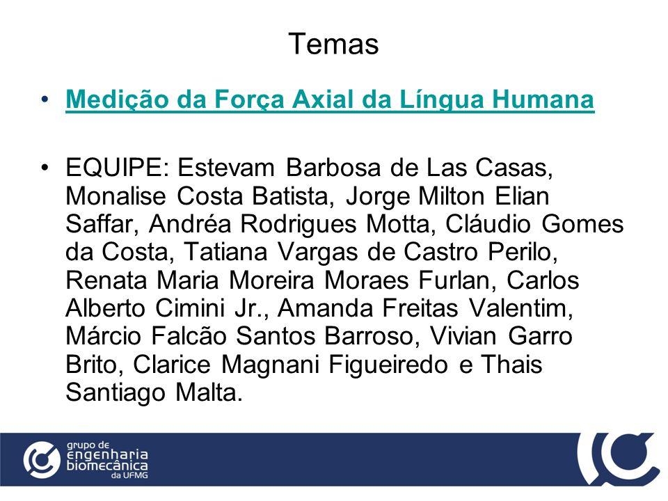 Temas Medição da Força Axial da Língua Humana EQUIPE: Estevam Barbosa de Las Casas, Monalise Costa Batista, Jorge Milton Elian Saffar, Andréa Rodrigue