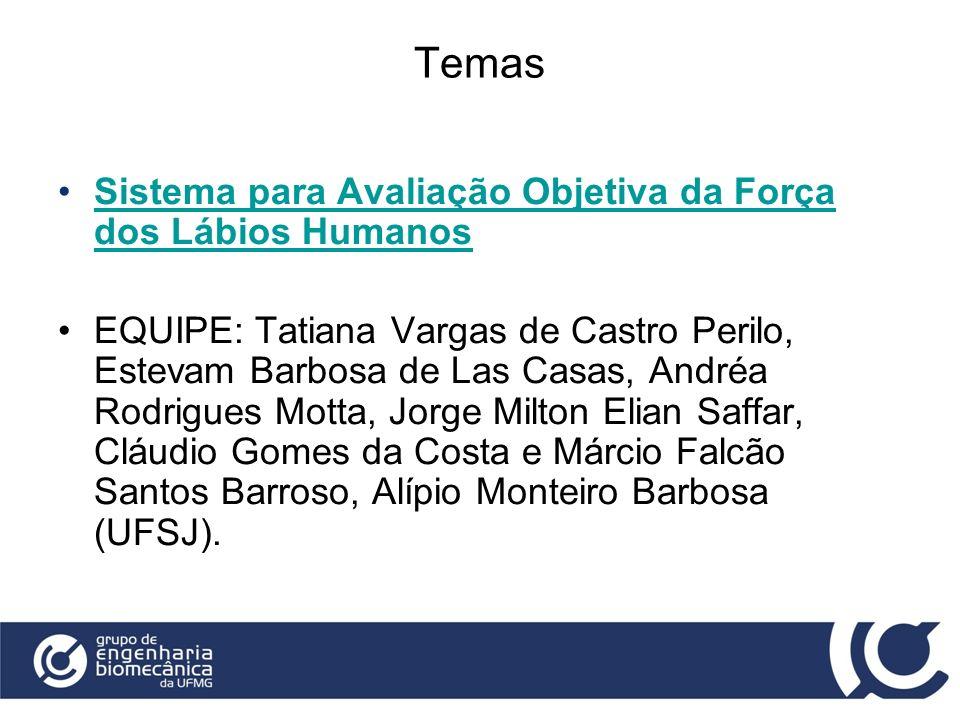 Temas Sistema para Avaliação Objetiva da Força dos Lábios HumanosSistema para Avaliação Objetiva da Força dos Lábios Humanos EQUIPE: Tatiana Vargas de
