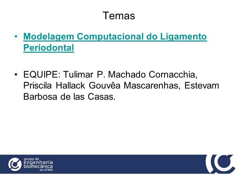 Temas Modelagem Computacional do Ligamento Periodontal EQUIPE: Tulimar P. Machado Cornacchia, Priscila Hallack Gouvêa Mascarenhas, Estevam Barbosa de