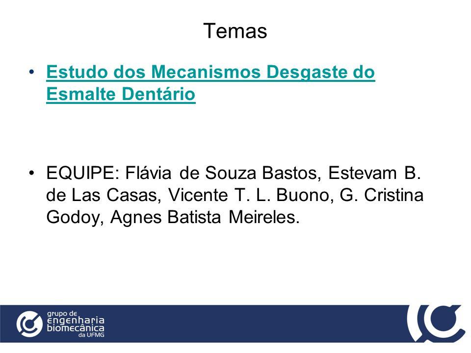 Temas Estudo dos Mecanismos Desgaste do Esmalte DentárioEstudo dos Mecanismos Desgaste do Esmalte Dentário EQUIPE: Flávia de Souza Bastos, Estevam B.