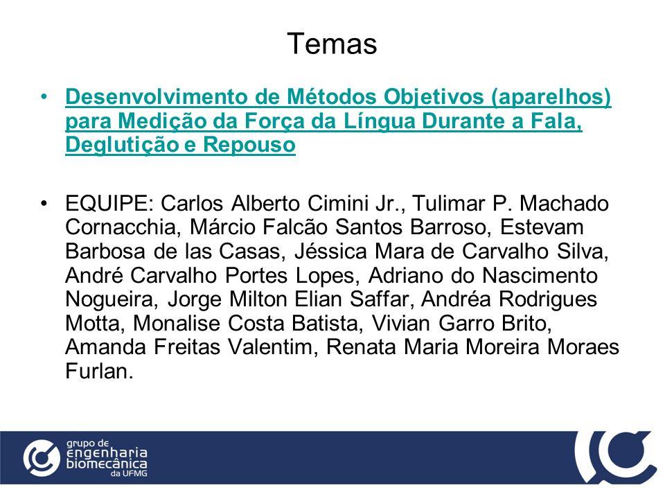 Temas Desenvolvimento de Métodos Objetivos (aparelhos) para Medição da Força da Língua Durante a Fala, Deglutição e Repouso EQUIPE: Carlos Alberto Cim