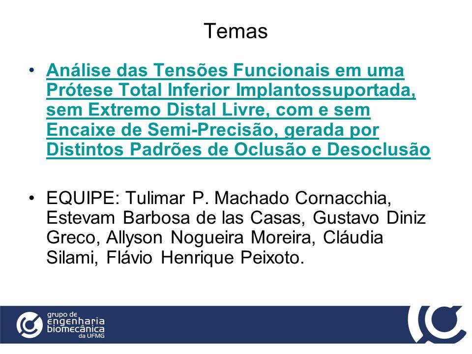 Temas Análise das Tensões Funcionais em uma Prótese Total Inferior Implantossuportada, sem Extremo Distal Livre, com e sem Encaixe de Semi-Precisão, g