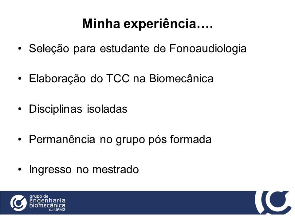 Minha experiência…. Seleção para estudante de Fonoaudiologia Elaboração do TCC na Biomecânica Disciplinas isoladas Permanência no grupo pós formada In