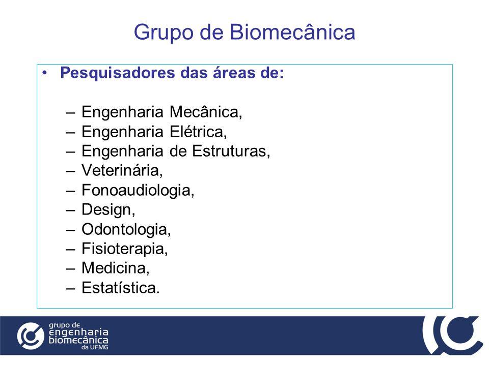 Grupo de Biomecânica Pesquisadores das áreas de: –Engenharia Mecânica, –Engenharia Elétrica, –Engenharia de Estruturas, –Veterinária, –Fonoaudiologia,