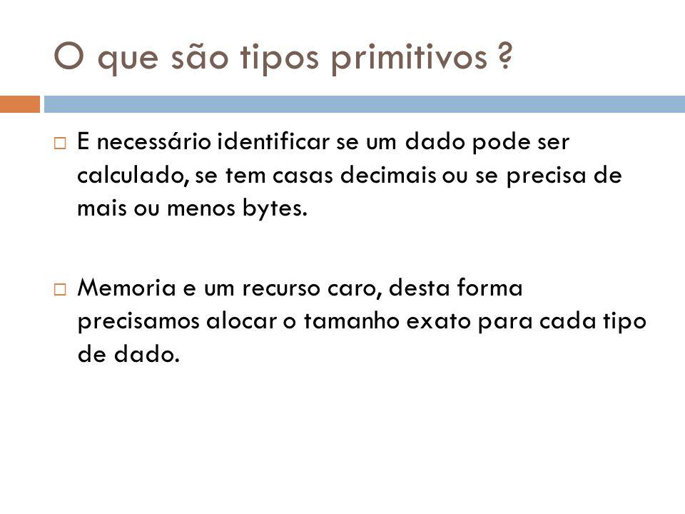 Tipos Primitivos Inteiro: toda e qualquer informação numérica que pertença ao conjunto dos números inteiros; Real: toda e qualquer informação que pertença ao conjunto dos números reais; Caractere: toda e qualquer informação composta por um conjunto de caracteres alfanuméricos (0..9/a..z/A..Z) e/ou especiais (@#$%&*?~<!); Obs:delimitadas por um par de aspas duplas ( ).